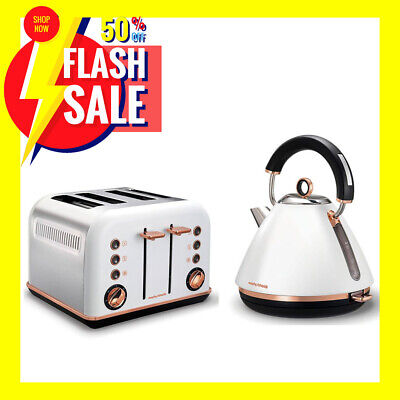 AU139 • Buy Morphy Richards White Accents Rose Gold 1.5L Pyramid Kettle And 4 Slice Toaster