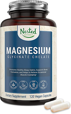 £21.42 • Buy Nested Naturals – Magnesium Glycinate Chelate Supplement 200mg High Absorption –