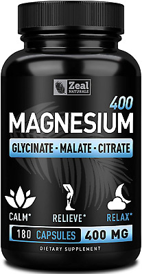 £20.31 • Buy Premium Chelated Magnesium Glycinate, Malate, Citrate 400mg   180 Capsules W For