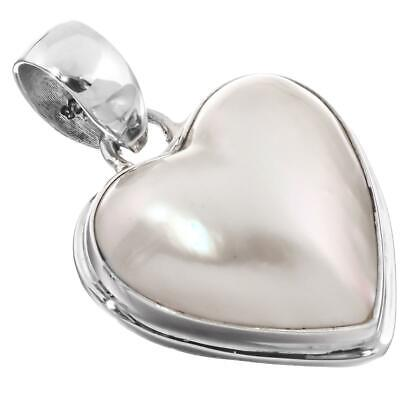 $31.95 • Buy 1 1/4  HEART WHITE MABE PEARL STERLING SILVER Pendant