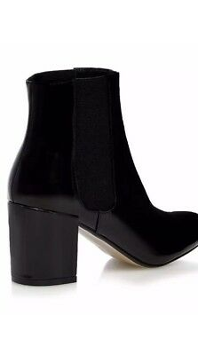 £24 • Buy Red Herring Womens Patent High Block Heel Ankle Boots Pull On Black Size 6 (39)