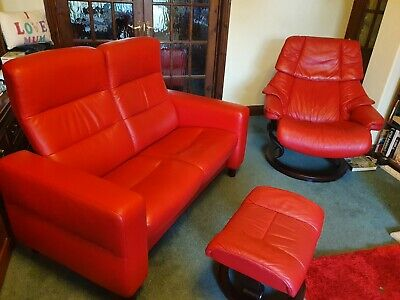 £850 • Buy Ekornes Stressless Large Reno Chair With Stool And 2 Seater Sofa In Chilli Red