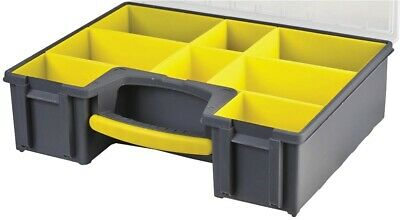 £25.65 • Buy 8 Compartment Grey Yellow Organiser Case Removable Tray 420mm X 334mm X 115m