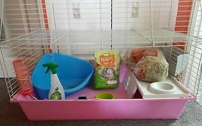 £60 • Buy Pink Rabbit Ferret Guinea Pig Indoor Cage With Blue Litter Box And Accessories