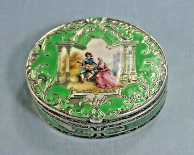 £199 • Buy Antique Continental Silver Enamel Box, With Painted Lovers Scene. C1896