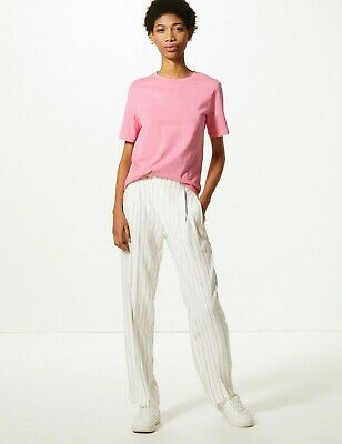 £10.99 • Buy M&S High Rise Striped Straight Leg Trousers With Linen Size 12 Reg BNWT