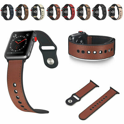 AU10.66 • Buy For Apple Watch Series 6/5/4/3/2/1 Leather Wristwatch Bands Strap 38/40/42/44mm