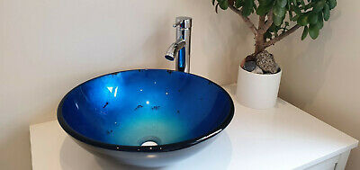 £32.99 • Buy Bathroom / Wash Counter Top Round Tempered Glass Sink & Mounting Ring Light Blue