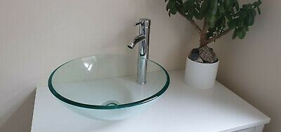 £32.99 • Buy Bathroom / Washroom Counter Top Round Tempered Glass Sink & Mounting Ring Clear