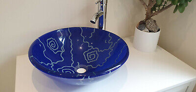 £32.99 • Buy Bathroom Wash Counter Top Round Tempered Glass Sink & Mounting Ring - Blue Swirl
