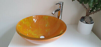 £32.99 • Buy Bathroom Washroom Counter Top Round Tempered Glass Sink & Mounting Ring - Orange