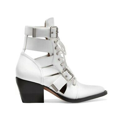 £225 • Buy Chloe Rylee Ankle Boots White EU38 Lace Up Cut Out Leather Boot White UK5 - New
