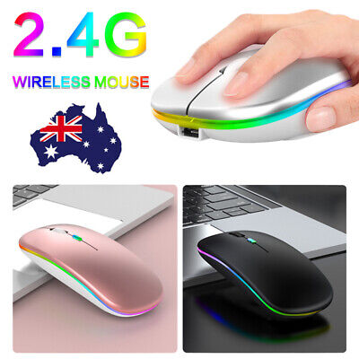 AU11.88 • Buy LED Wireless Mouse Silent Ergonomic Optical For Office Laptop Rechargeable W