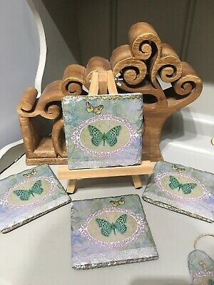 £8 • Buy Butterfly Natural Slate Coasters Handmade And Available In A Set Of 4