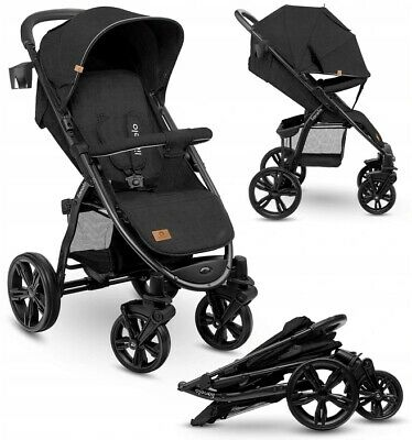 View Details BABY STROLLER KIDS BUGGY PUSHCHAIR WITH FOOT COVER ANNET LIONELO Black Carbon • 129.99£