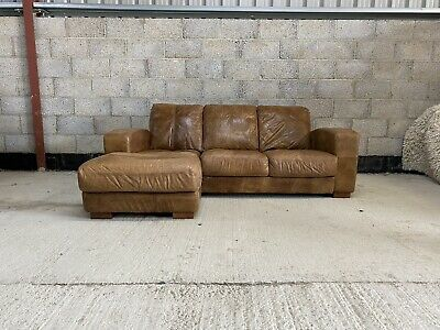 £649 • Buy Art Deco Style Cigar Tanned Brown Leather Chesterfield Left Hand Corner Sofa