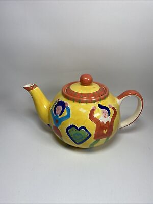 £10 • Buy Whittard Yellow Teapot With Dancing Couple Perfect Condition
