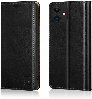 £34.44 • Buy For IPhone 12 Mini Leather Wallet Case Kickstand Card Holder RFID Blocking Black