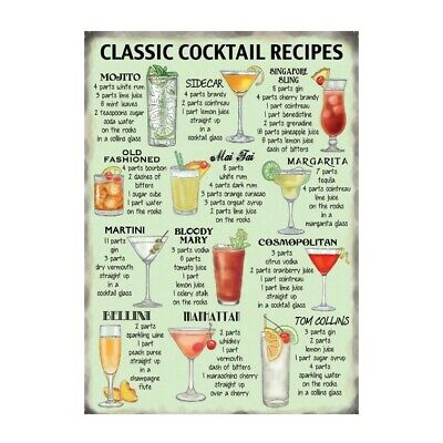 £4.99 • Buy Classic Cocktail Recipes Metal Wall Sign Plaque For Pub, Bar Man, Lady Cave NEW