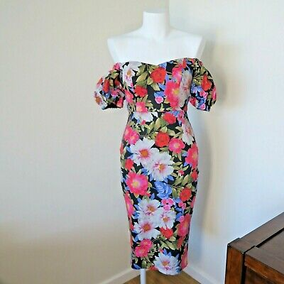 AU29.95 • Buy FOREVER NEW Floral Off The Shoulder Puff Sleeve Dress - Size 6