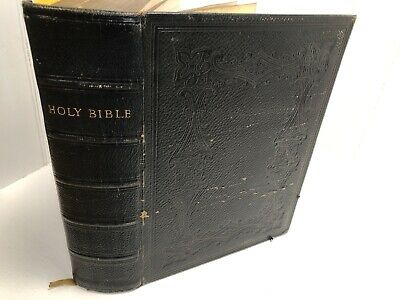 £49.99 • Buy Victorian Leather Holy Bible  G.E Eyre & W. Spottiswoode 1883 Bell Family Lincs
