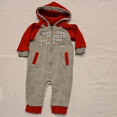 £5 • Buy Small Paul - Paul Frank Boys Hooded All In One Grey Red Footballs 9-12 Months