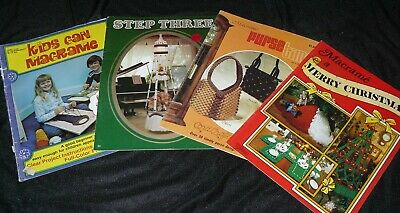 $16.79 • Buy Lot Of 4 Vintage Macrame Pattern Craft Books Kids Purses Christmas And More