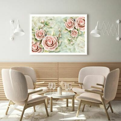 AU9.67 • Buy Pink Flowers 3D Abstract Design Print Premium Poster High Quality Choose Sizes