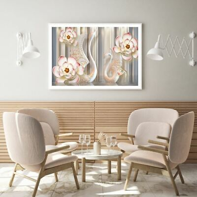 AU9.67 • Buy Swans & Flower 3D Abstract Design Print Premium Poster High Quality Choose Sizes