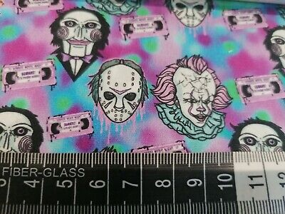 £9.99 • Buy Rare Print In Stock 100% Cotton Fat Quarters Perfect For Facemasks Horror, Clown