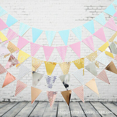 £2.45 • Buy 17Feet 12Flags Rose Gold/Silver/Blue/Pink Banner Bunting Party Event Garden Deco