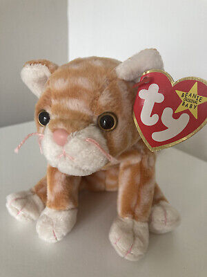£6.50 • Buy Amber TY Beanie Babies Orange And White Striped Tabby Cat Kitten Soft Toy