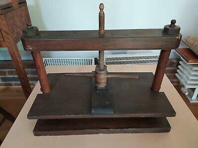 £39 • Buy Antique Table-top Screw-type Oak Linen Press In Good Condition And Complete