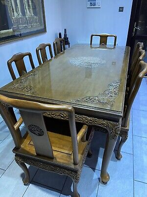 £1000 • Buy African Wooden Carved Dining Table With 8 Matching Chairs