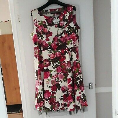 £12.95 • Buy Fit And Flare Dress Retro Vintage Style  Pink Floral New With Tags Size 22