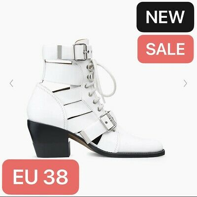 £199 • Buy Chloe Rylee White Ankle Boots Cut Out Leather Boots EU38 UK5 - New