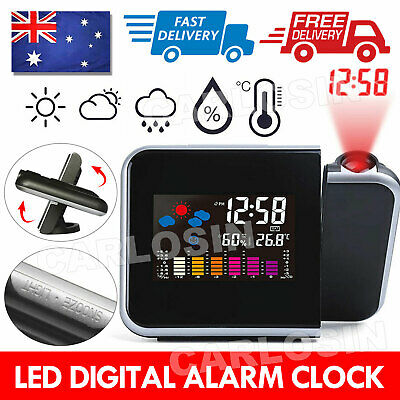 AU15.85 • Buy Smart Digital LED Projection Alarm Clock Temperature Time Projector LCD Display