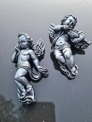 £6.99 • Buy 2 Silver Architectural Ornate Plaster Cherub Wall Hanging Decors Plaque Mould