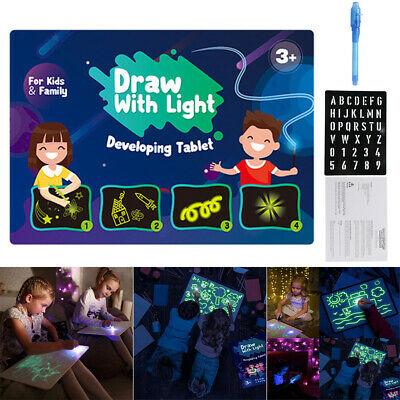 AU19.99 • Buy Light Up Drawing Fun Developing Toy Draw Sketchpad Board Portable For Kids NEW