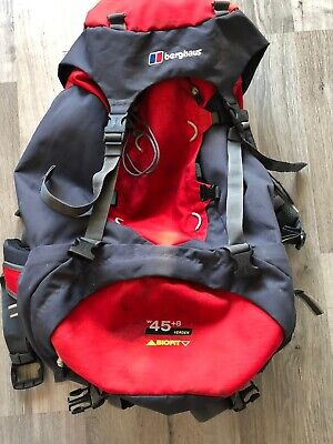 £29.99 • Buy Berghaus Grey/Red 45+8litre Verden Biofit Rusack With Cover Good Condition