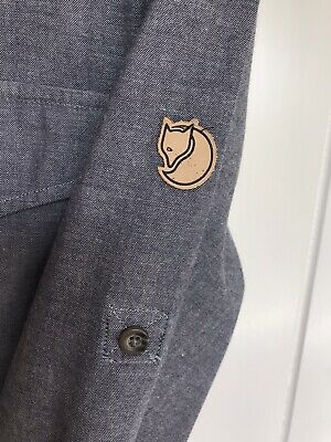 """£10.50 • Buy Used Vintage Fjallraven Chambray Fox Shirt M L 23"""" Ptop  80's Casuals Worn 3 X"""