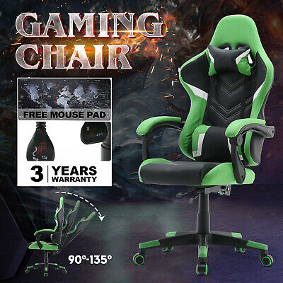 AU149.90 • Buy 135° Computer Gaming Chair Racer Executive Office Recliner PU Leather Seat Green