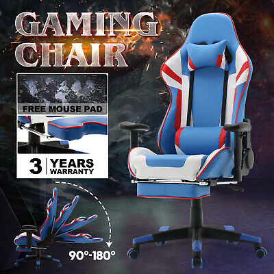 AU169.90 • Buy 180° Computer Gaming Chair Executive Office Racer Recliner W/Footrest PU Leather