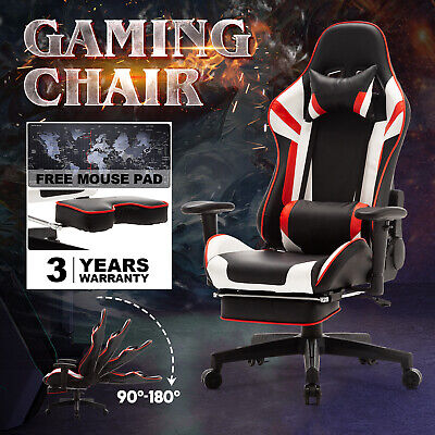 AU169.90 • Buy 180° Computer Gaming Chair PU Leather Executive Office Racer Recliner W/Footrest