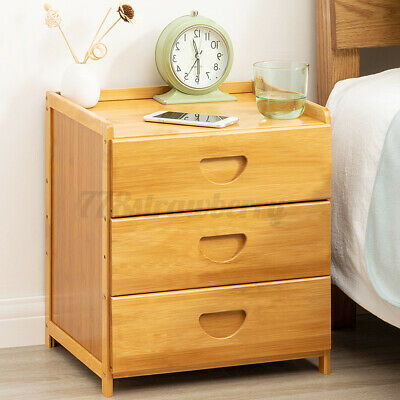 AU46.99 • Buy Bedside Tables Drawers Side Table Cabinet Furniture Nightstand Bamboo Lamp Larg