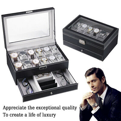 £23.99 • Buy 6 10 12 24 Grids PU Leather Watch Display Case Collection Storage Holder Box