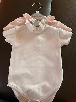 £3 • Buy Baby Girls Bodysuits X2 White And Pink Matalan Age 3-6 Mths