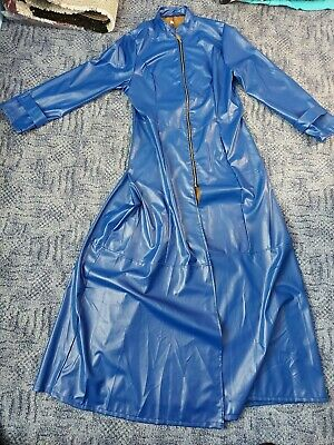 £19.99 • Buy Womens Blue Faux  Leather Full Length Coat. Mistress, Gothic. Size 14/16.