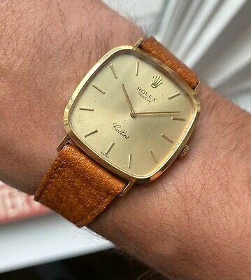 $ CDN3776.54 • Buy Vintage Rolex Cellini 18K Yellow Gold Tank Manual Wind Champagne Dial Watch