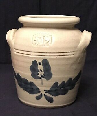 $34.99 • Buy Mahon Pottery Stoneware 2 Handled Crock Cobalt Blue Flowers And Leaves Preowned